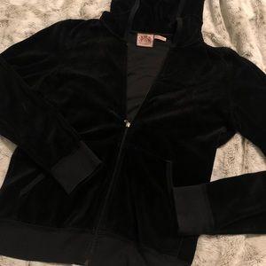 Juicy Couture black velour style zip hoodie sz L